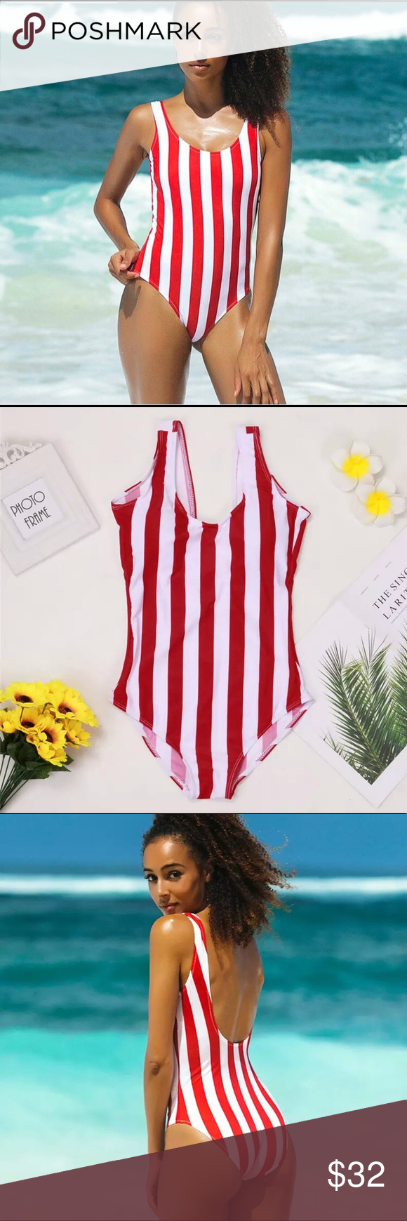 d1a33902a0 NWT Red stripe one piece swimsuit 🍎 The perfect mix between sporty and  sexy. This