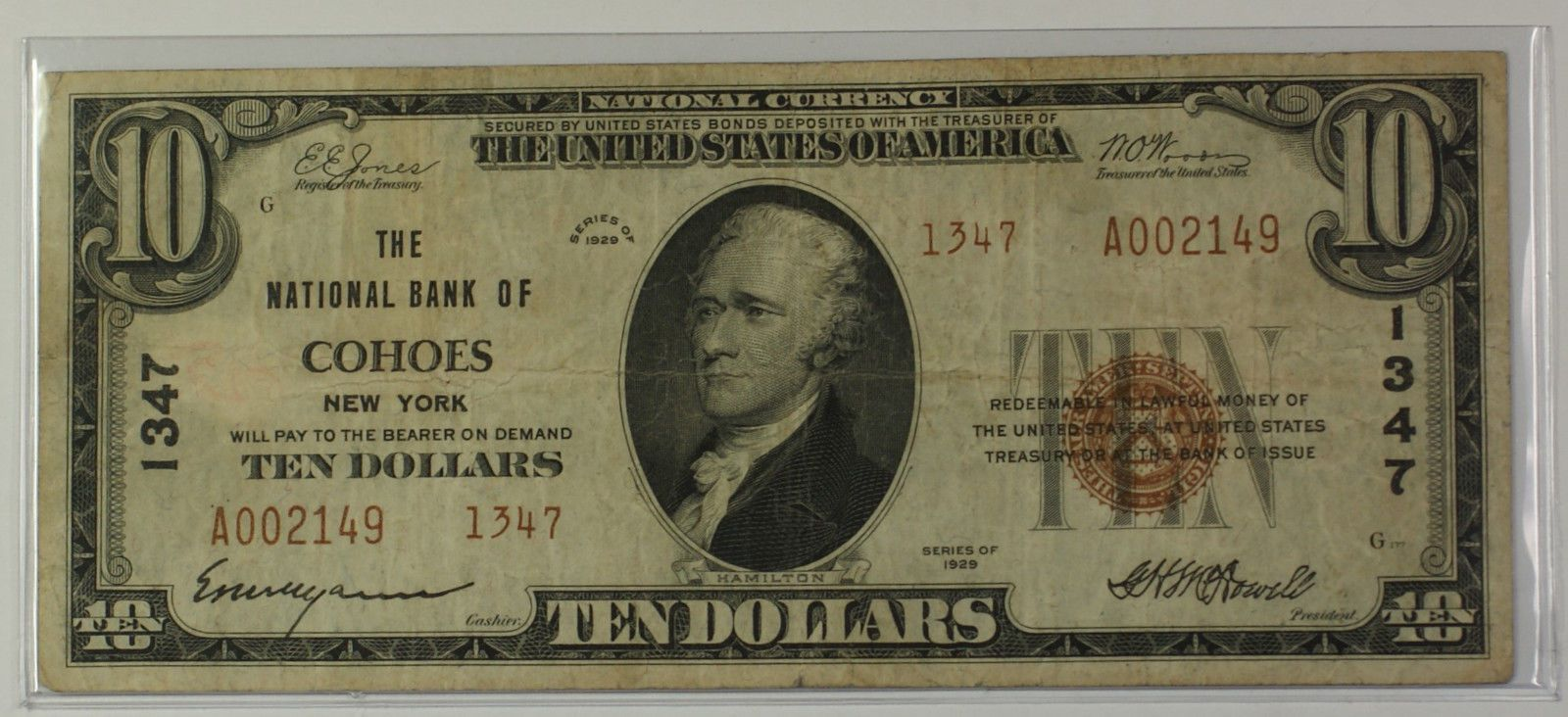 Details About 1929 Type 2 10 Dollar National Currency Banknote