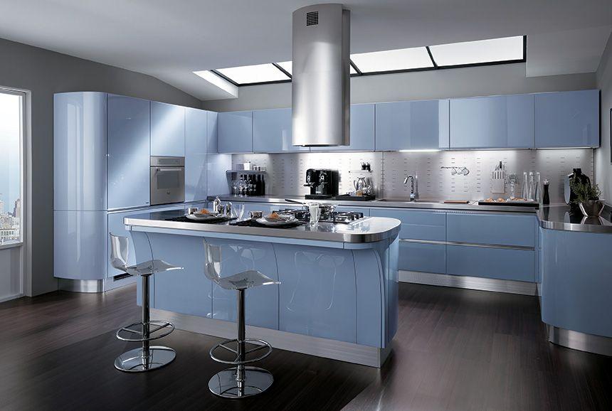 Cuisine moderne bleue scavolini tess bleu et gris acier