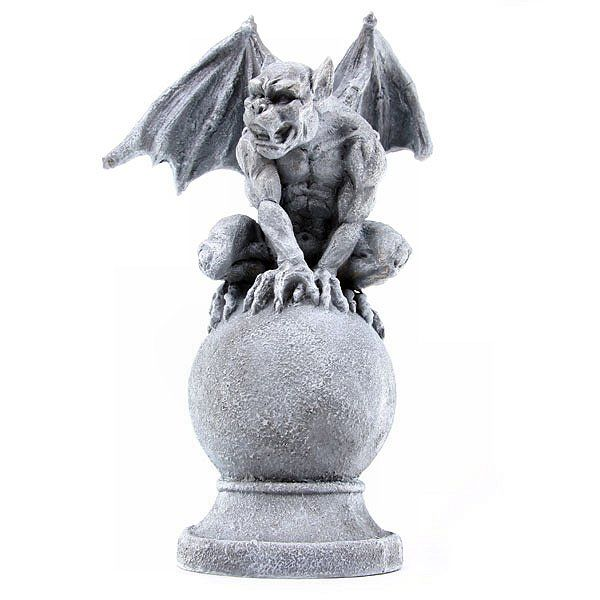 Awesome Gargoyle On Ball, I Have A Set Of 3 Of These In Different Poses. Gothic GargoylesGarden  OrnamentsHalloween ...