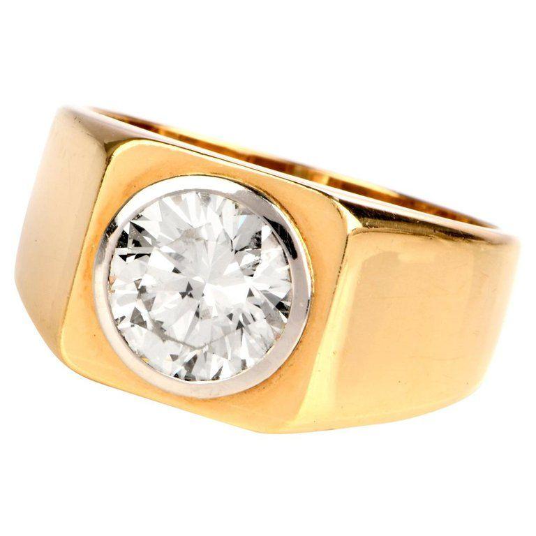 1970s Diamond 18 Karat Yellow Gold Signet Men S Ring Rings Amethyst Cocktail Ring Signet