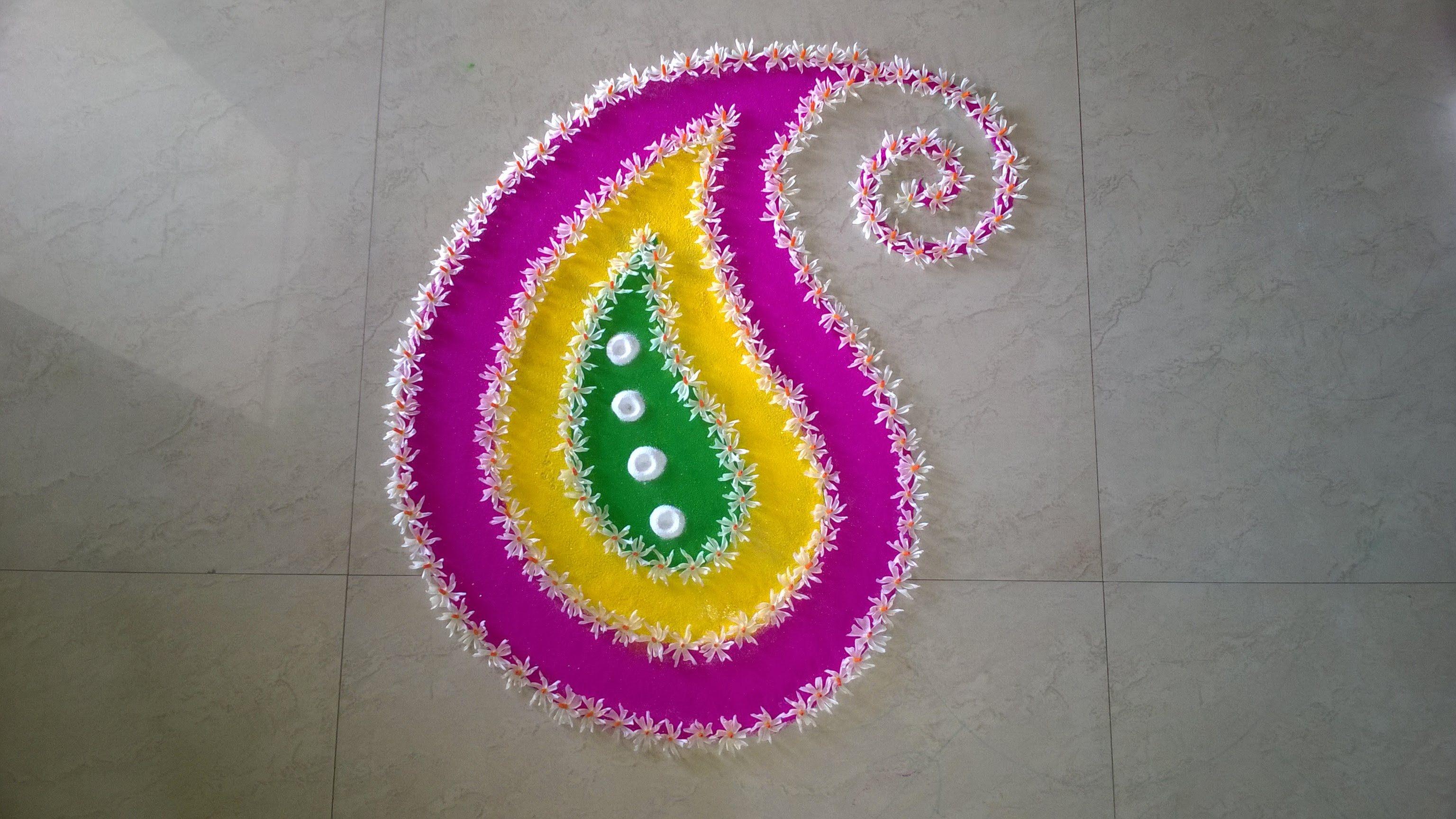 Parijat Flower Rangoli Design (NEW) Flower rangoli