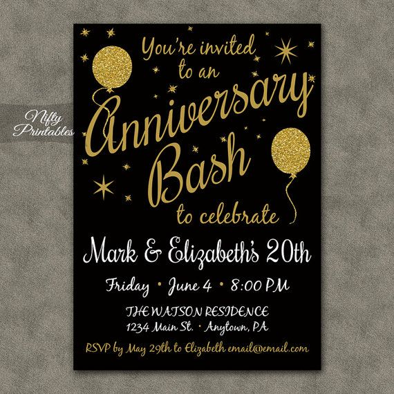 Th Anniversary Invitations  Printable Black  Gold Th