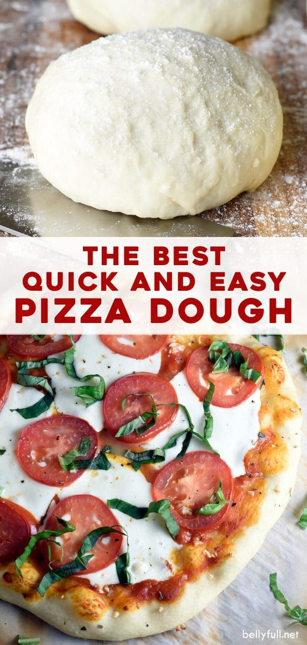 This quick and easy homemade pizza dough recipe is a game-changer! Say goodbye to takeout, and reach for this foolproof recipe on pizza night. There's nothing better than homemade pizza for a family friendly dinner, and this simple recipe is quick, easy, and takes just 10 minutes to prep. No electric mixer or dough hook needed, just one bowl! #pizza #homemade #familyfriendly