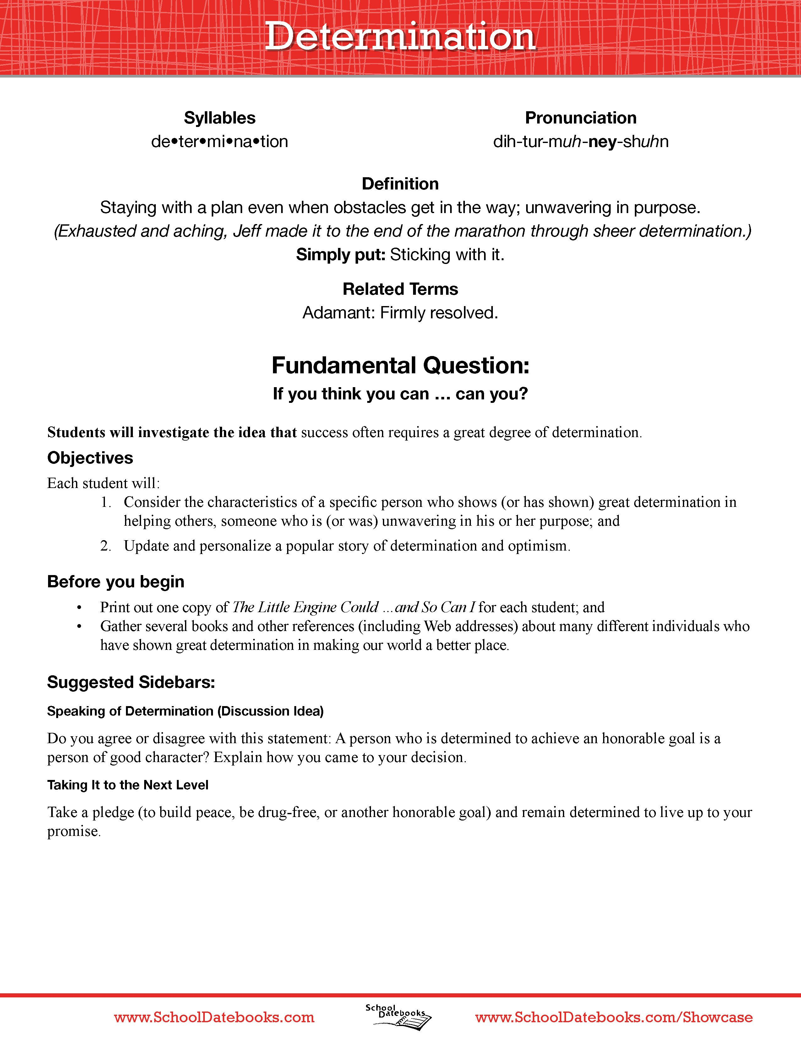 determination lesson essay Middle school lesson plans browse the entire collection of middle school lesson plans.