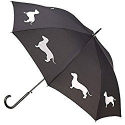Retro Dogs Dachshund Automatic Open Folding Compact Travel Umbrellas For Women