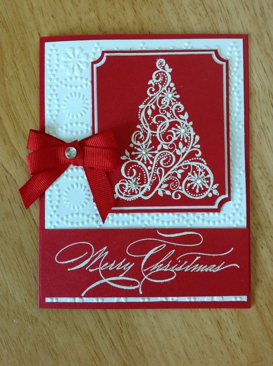 Stampin Up Christmas card - Red and white Christmas tree. $4.00, via | http://workoutfitstyles9876.blogspot.com