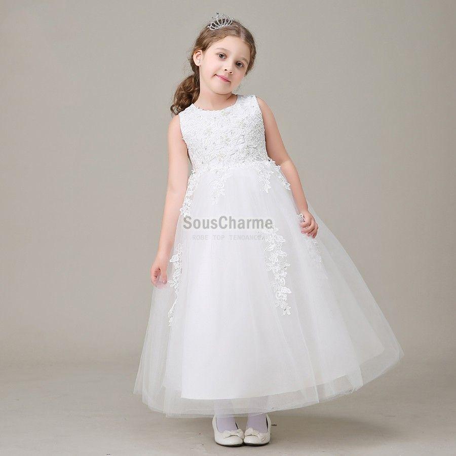 Robe blanche pour petite fille pas cher