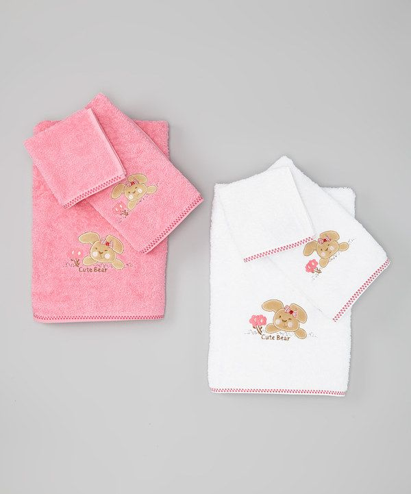Take a look at this White & Pink 'Cute Bear' Towel Set on zulily today!