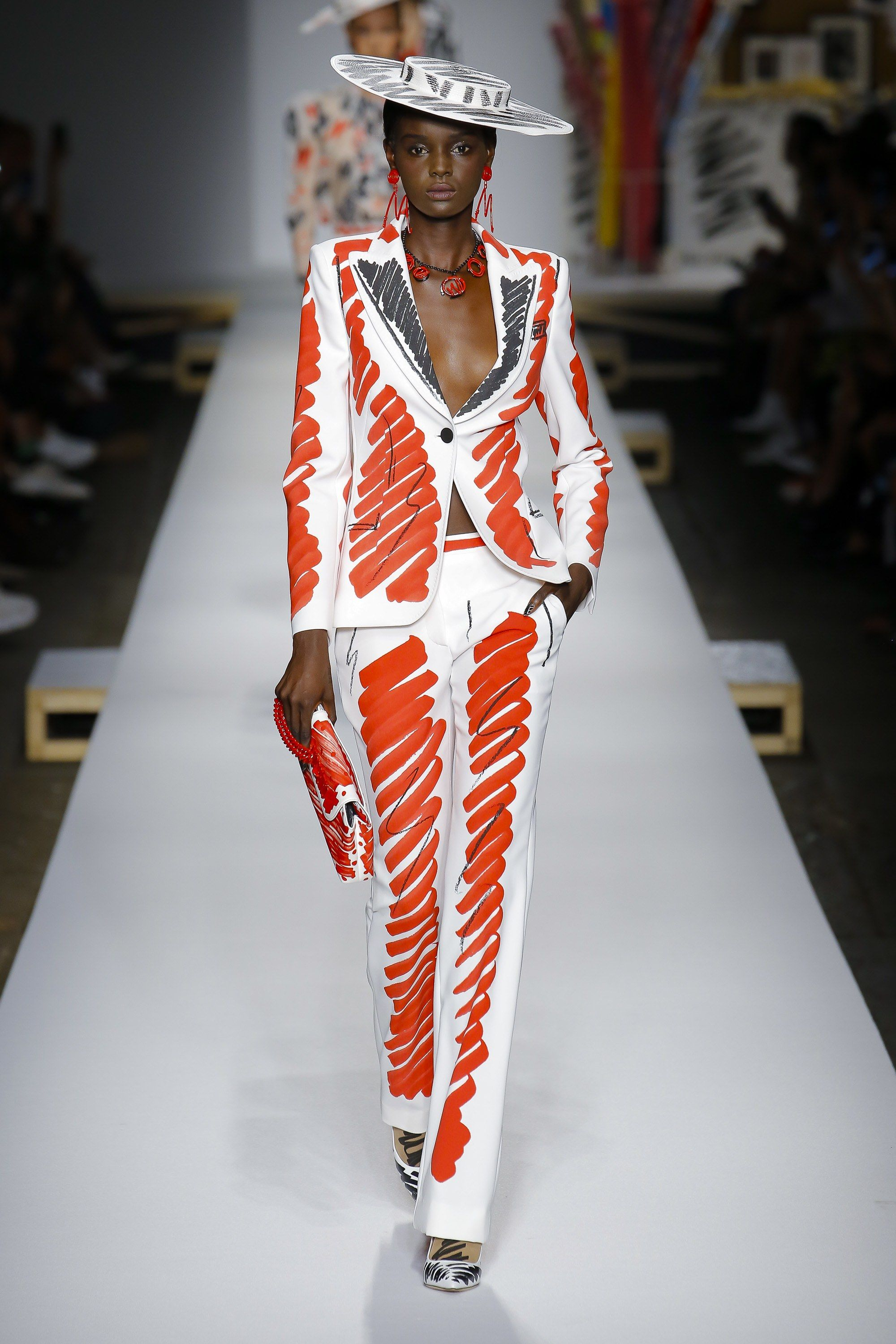95bbc8dfdd White suit with orange scribble by Jeremy Scott for Moschino Spring 2019  Ready-to-Wear Collection - Vogue