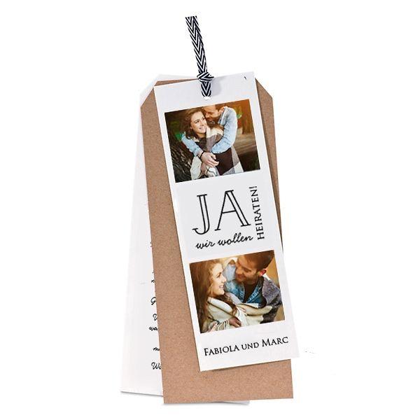 Dreiteilige Einladungskarte Für Die Hochzeit Mit Kraftpapierkarte Und Zwei  Cremefarbenen Kartons. Hervorragend Auch Als Jubiläumskarte