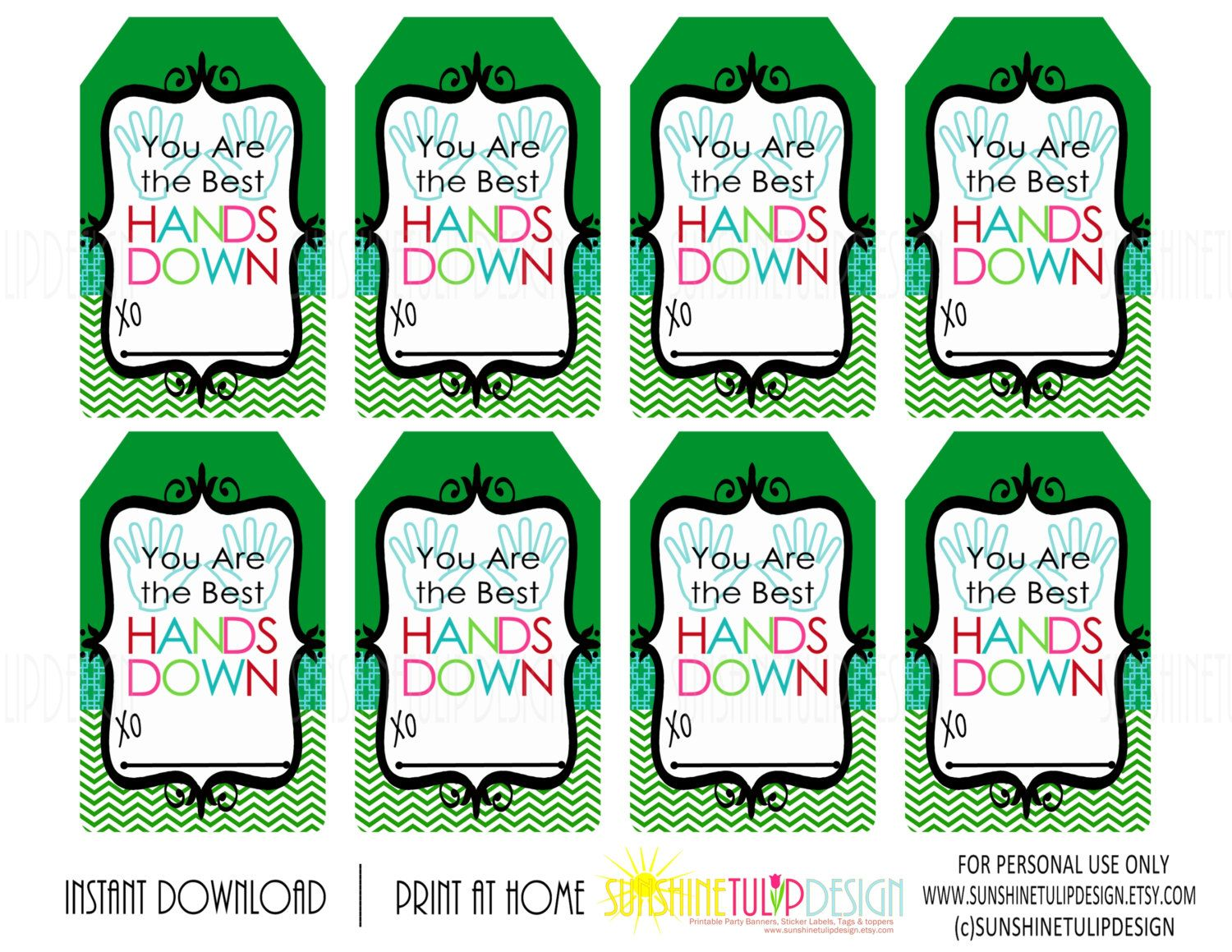 Printable You Are The Best Hands Down T Tags Lotion T Tags Green Hand Soap T Tags By