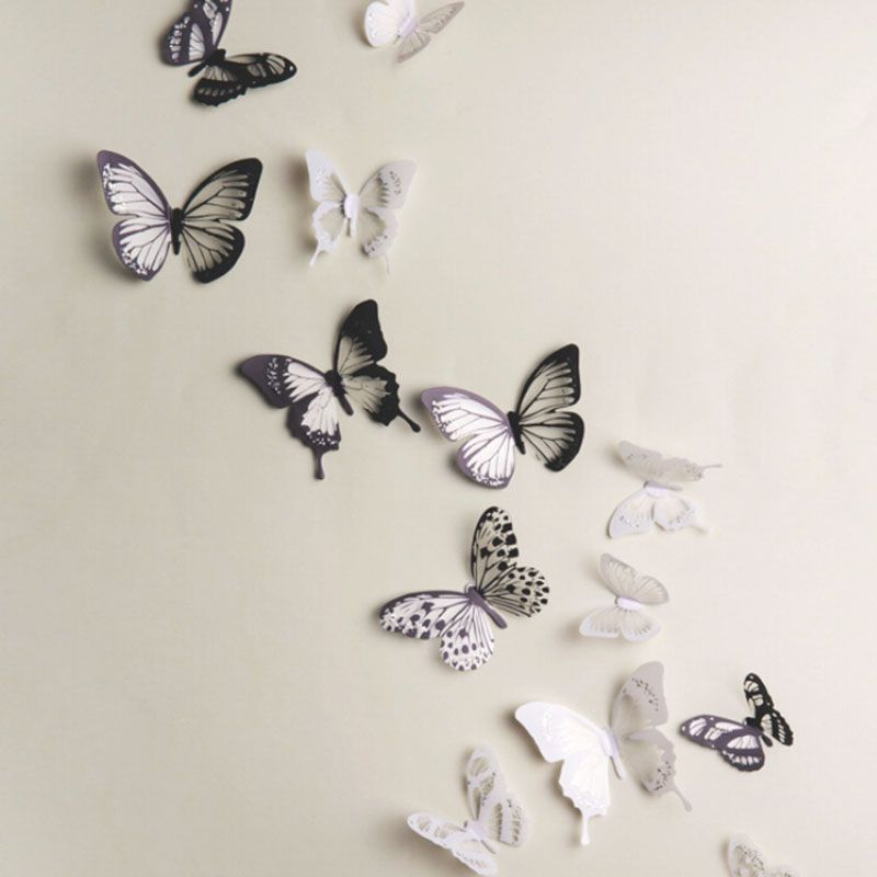 PcsLot Cartoon D Butterfly Wall Stickers Decals Home Decor - Butterfly wall decals 3daliexpresscombuy d butterfly wall decor wall sticker