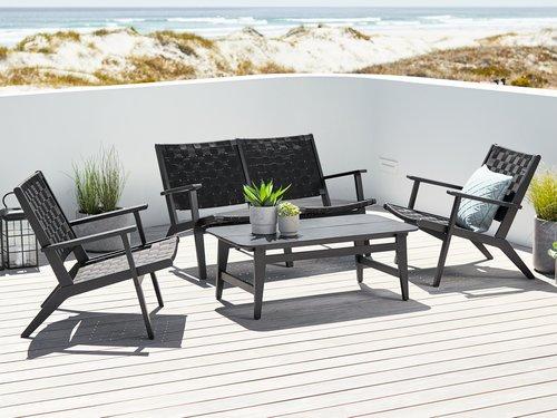 Lounge Set Beder 4 Pers Black Outdoor Furniture Sets Wooden
