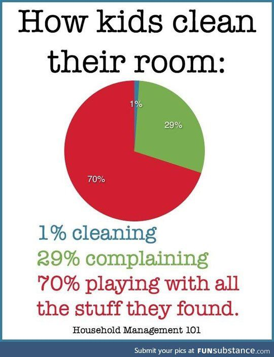 When Kids Clean Their Room Funsubstance Funny Pie Charts Funny Quotes Memes Quotes
