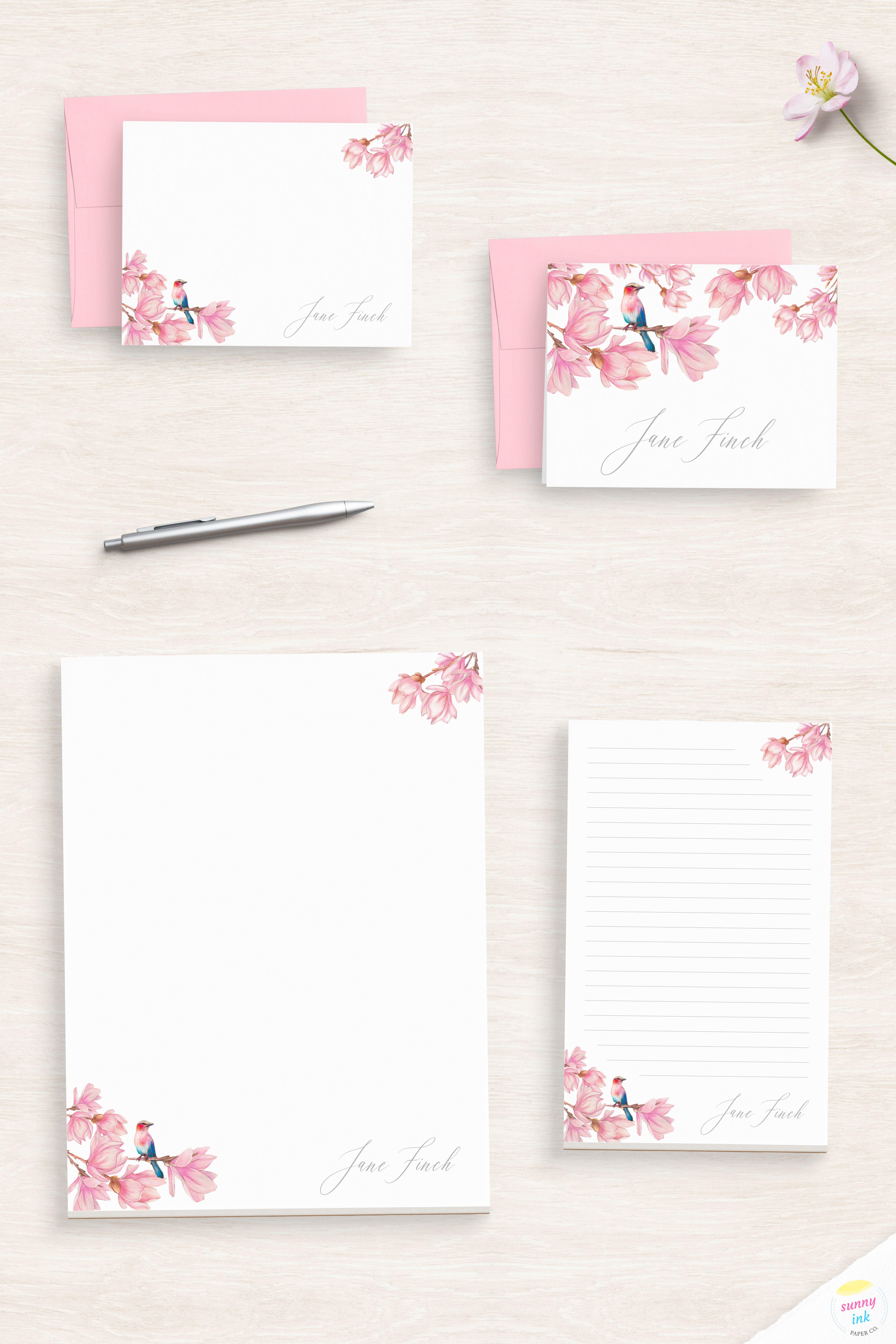 Personalized Stationery Set Custom Stationery Stationery Set Flamingo Personalized Stationery