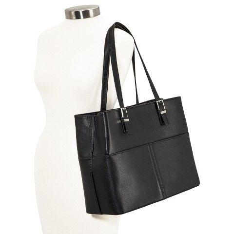 Interview Bag Merona Solid Saffiano Tote Handbag Black