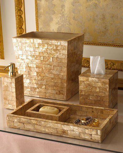 Gail Deloach Gold Capiz Shell Soap Dish. Gold Spa Like Bathroom Accessories!  #