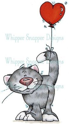 Kitty & Balloon - Cats - Animals - Rubber Stamps #rubberstamping
