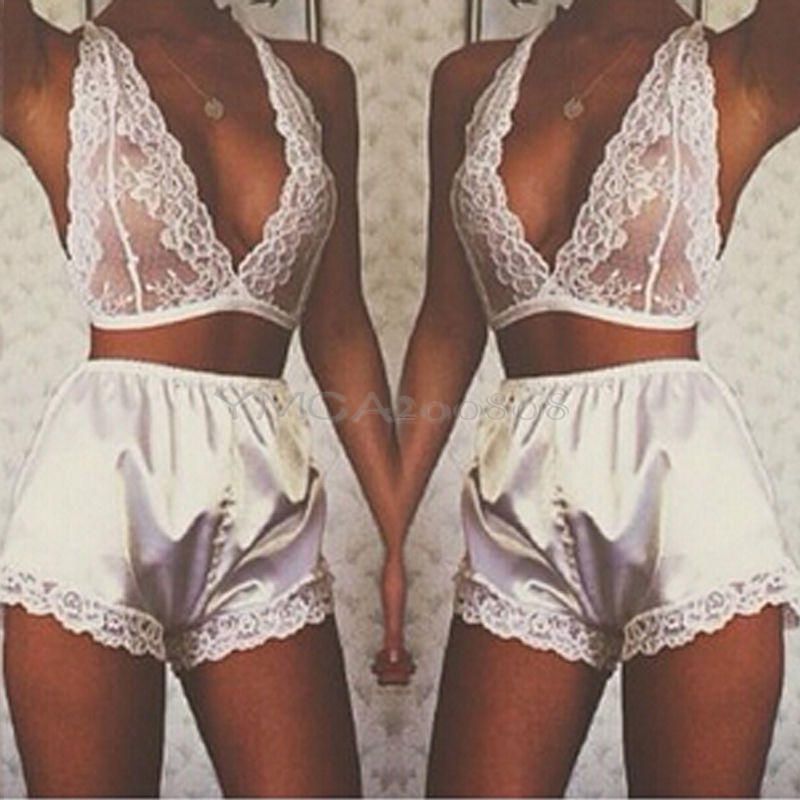 Women Lingerie Babydoll Sleepwear Satin Underwear Lace Dress G ...