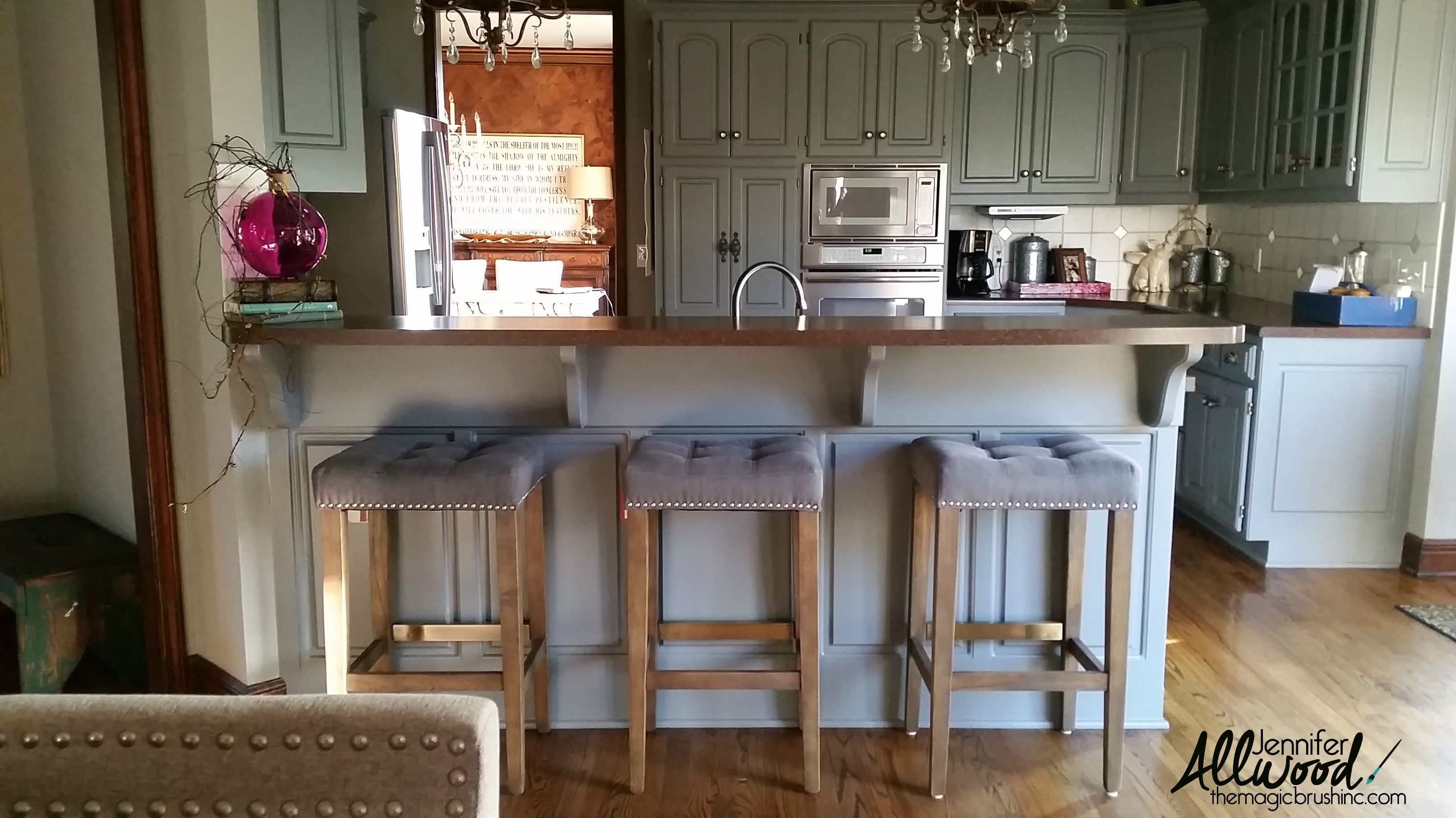 We just updated our kitchen with painted gray cabinets as part of our total house color scheme transformation from golds to gray. It's elegant and modern.