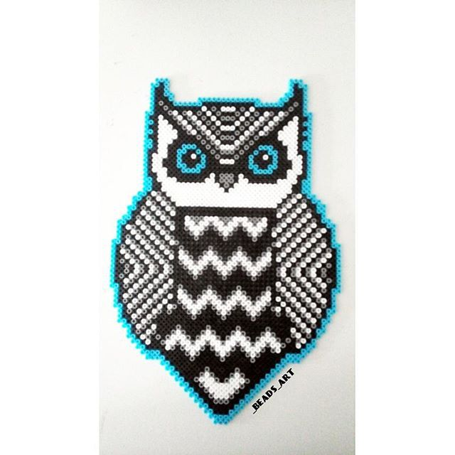 Owl perler bead art by beadsart Projects to Try Pinterest Amazing Owl Perler Bead Patterns