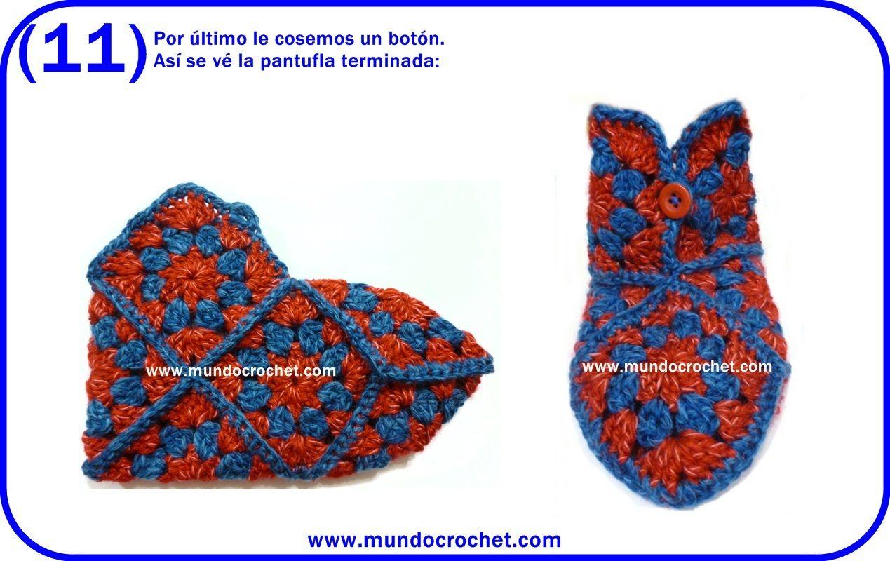 Pantuflas crochet cuadrados granny | croche para todos | Pinterest ...