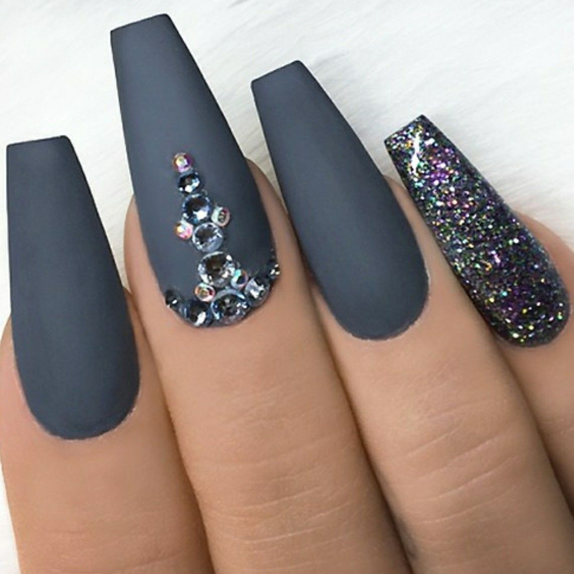 Grey Matte Nails Nails With Rhinestones Glitter Nails Ballerina