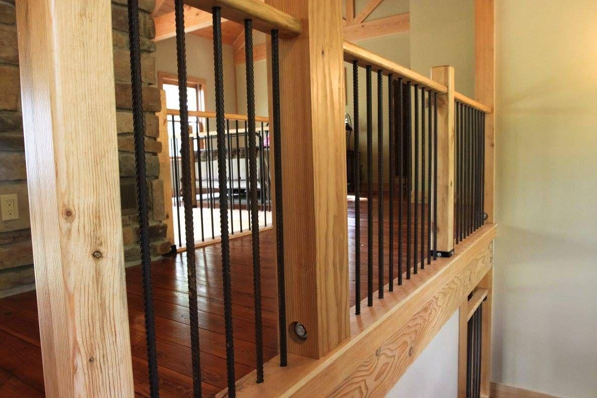 Best Wood And Rebar Railing Loft Railing Staircase Design Banister Remodel 400 x 300