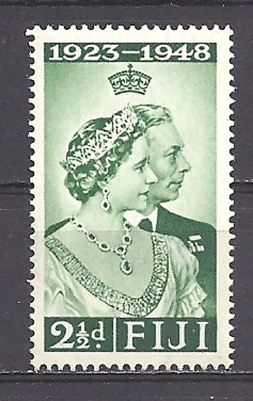 FIJI , SILVER WEDDING , 1948 , STAMP , PERF , VLH - http://stamps.goshoppins.com/commonwealth-british-colonial-stamps/fiji-silver-wedding-1948-stamp-perf-vlh/