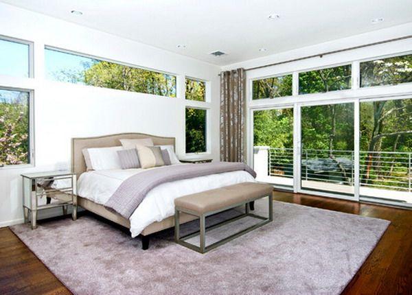 Modern Minimalist Master Bedroom Design With Large Glass Windows