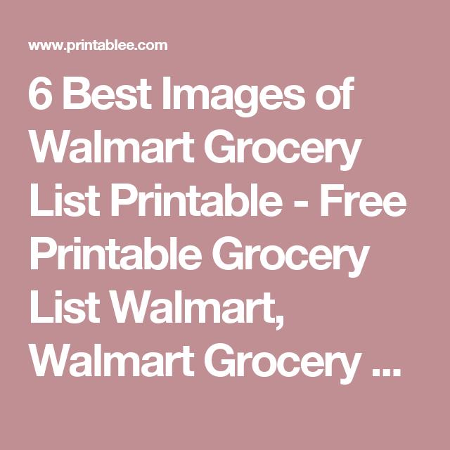 Best Images Of Walmart Grocery List Printable  Free Printable