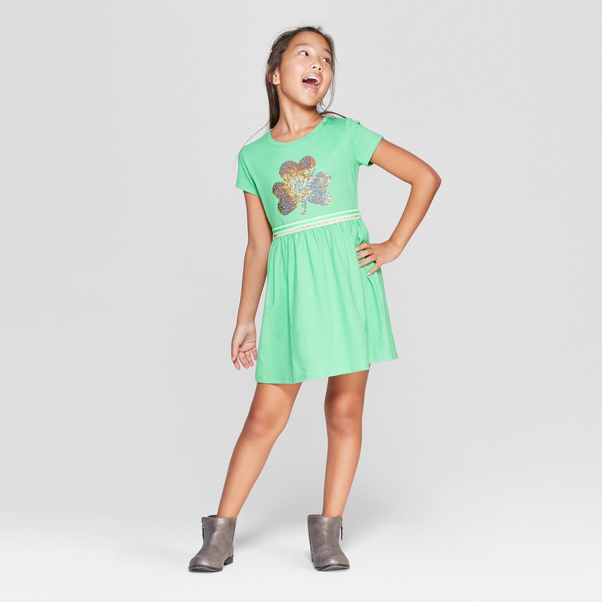 fecb531a4cb Girls  Flip Sequins Shamrock Dress - Cat   Jack Light Green XS ...