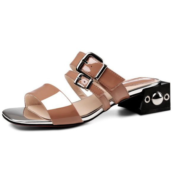 Free shipping 2017 Summer Belt buckle Square Toe Outside slippers Fashion Metal Decoration handmade sandals for women