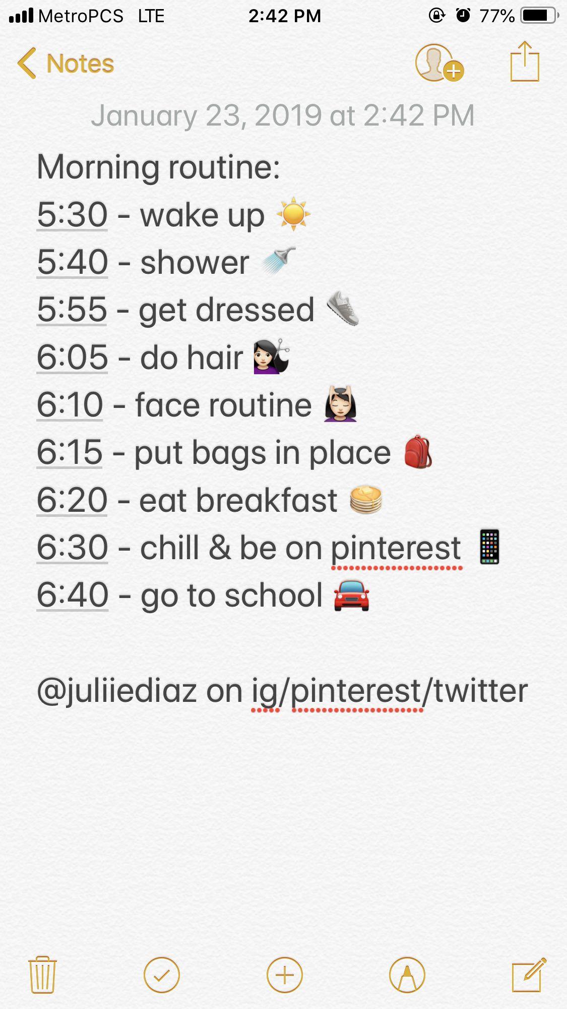 Morningroutine School Highschool Lifestyle
