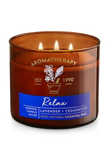 Aromatherapy Relax Lavender Cedarwood 3 Wick Candle Bath And Body Works Bath Body Works Candles Scented Candles Aromatherapy Aromatherapy Candles