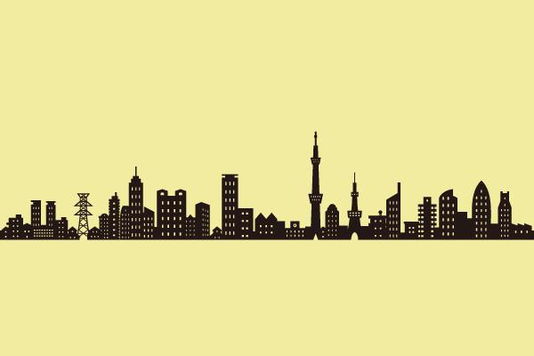横長シルエット街並み \u2013 街、建物系イラスト専門サイト「TOWN