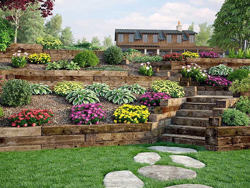 Use outdoor essentials railroad ties for decorative for Garden landscape retaining walls