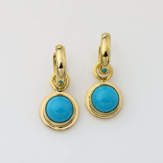 14k Gold Turquoise Earrings Sleeping Beauty
