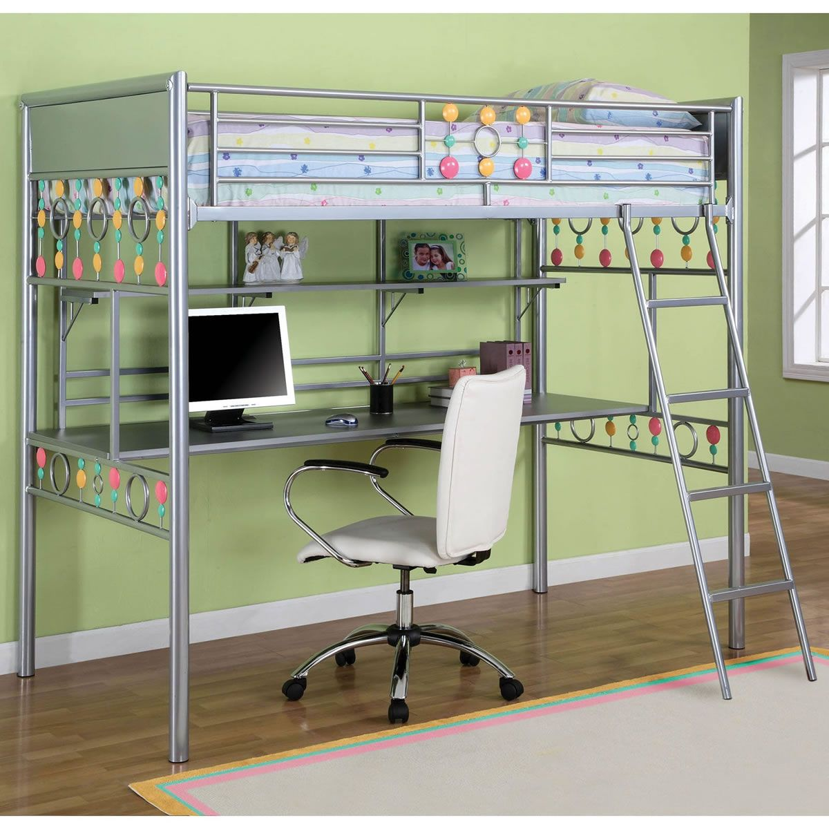 Enticing Gray Paint Iron Kids Loft Bed With Study Desk And Shelving