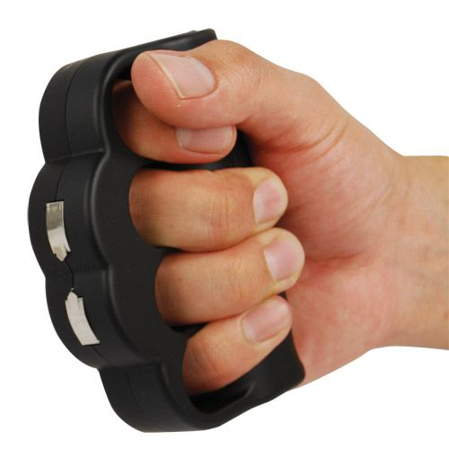 Knuckle Blaster Stun Gun 950,000 Volt Just touch your attacker to instantly repel them and give you time to get away. Longer contact will cause further disorientation and after some seconds may drop them to their knees.  This patented device has a soft rubber skin and is sized to accomodate all hand sizes.