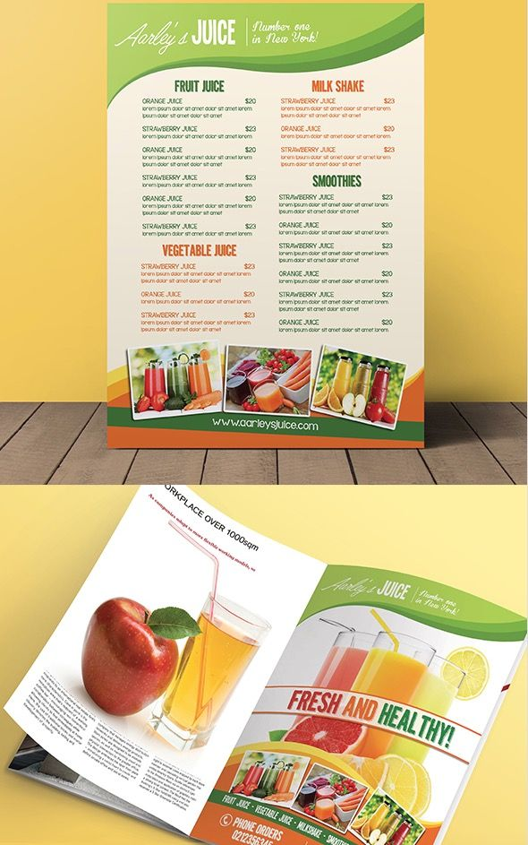 Fruit Juice Menu Flyer Magazine Ad Juice Menu Restaurant Menu Template Smoothie Menu
