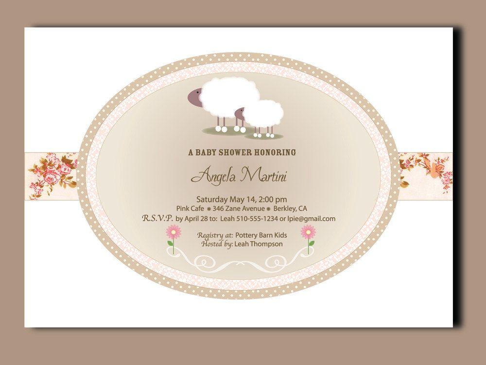 little lamb baby shower invitations invitations -printed, Baby shower invitations