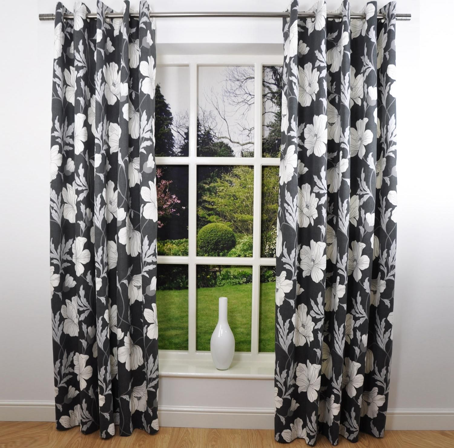 Interior Design Flower Patterned Black And White Curtain Girlly
