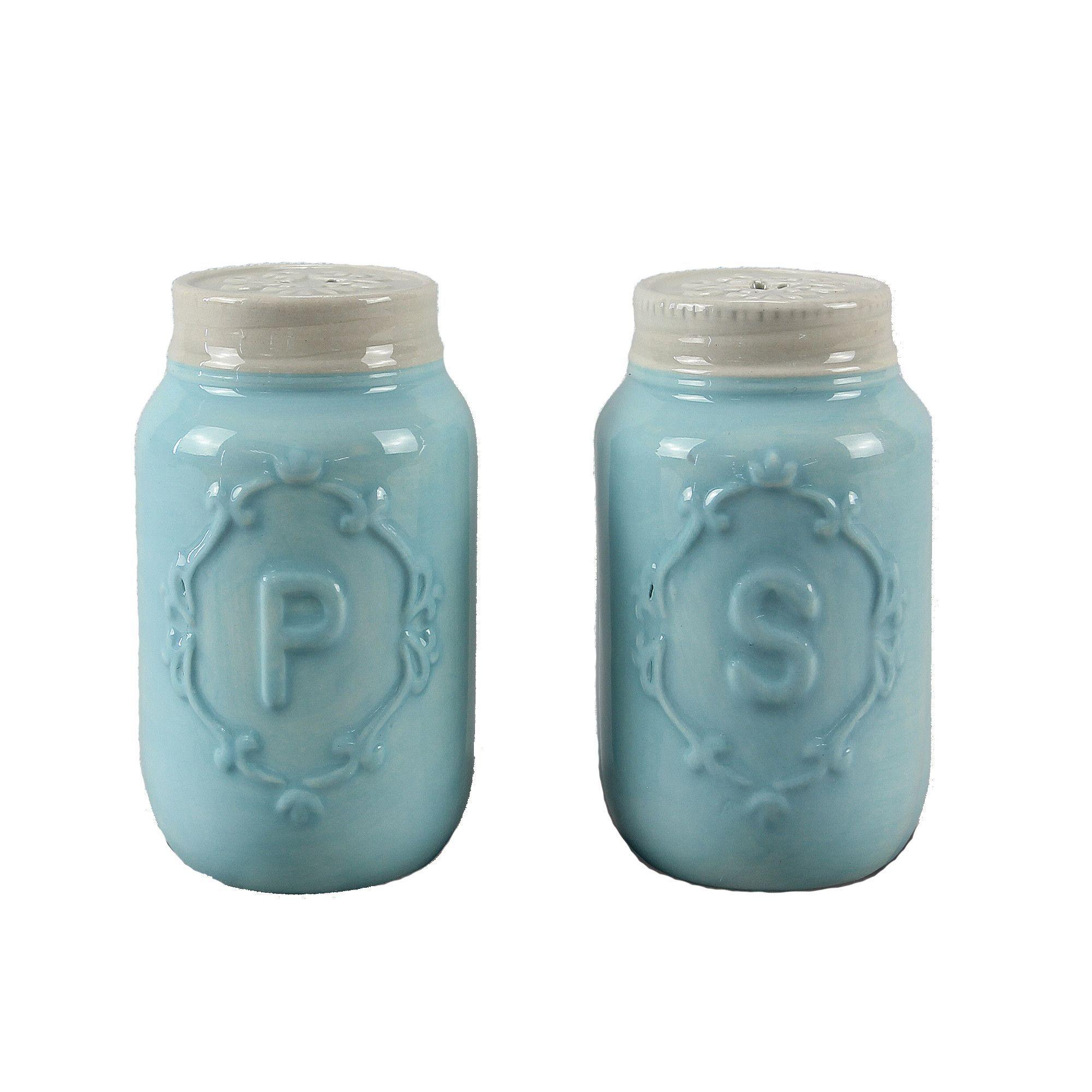 Blue Mason Jar Salt & Pepper Shakers   Salt pepper shakers, Pepper ...