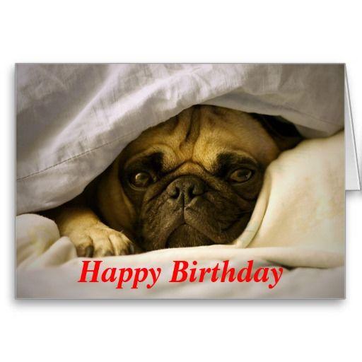 Happy Birthday Pug Puppy Dog Greeting Card Zazzle Com