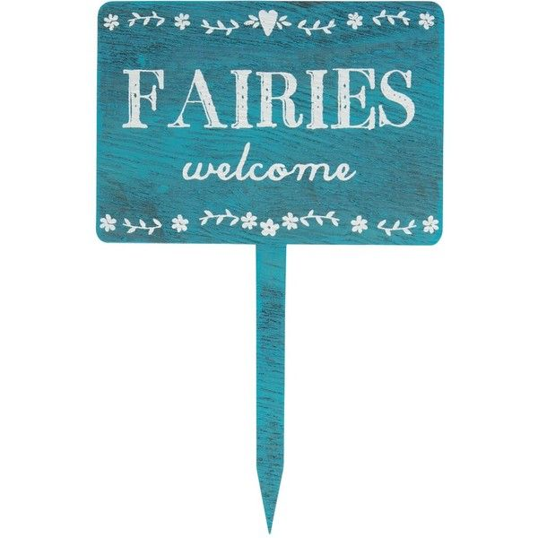 Fairies Welcome Wooden Garden Sign (1.290 CLP) ❤ liked on ...