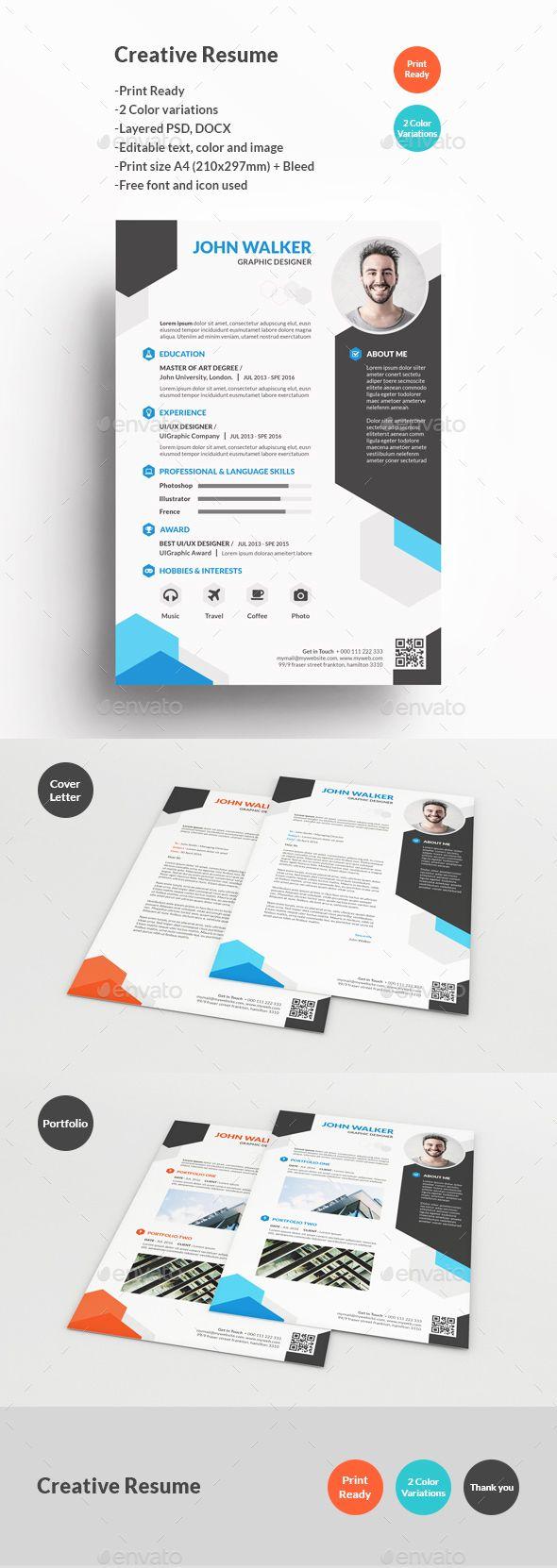 Creative Resume | Pinterest | Currículum, Curriculums y Plantilla cv