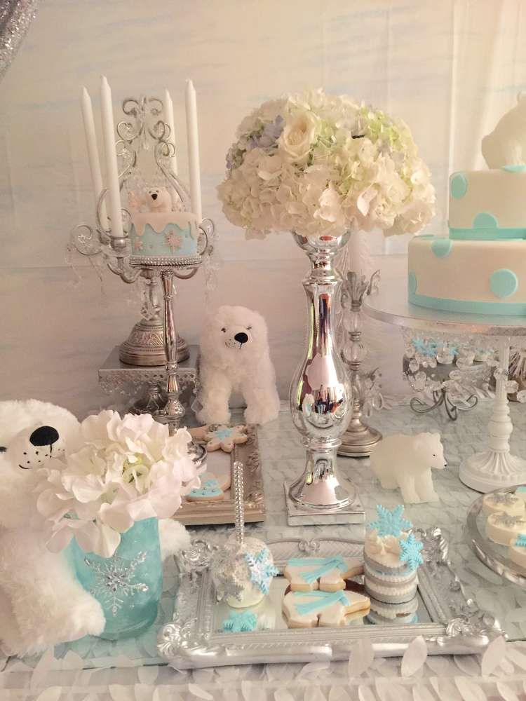 Polar bear baby shower party treats See more party ideas