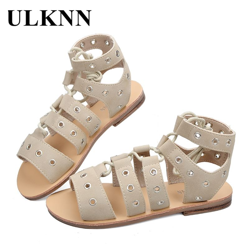 c3fa38e08 Encontrar Más Sandalias Información acerca de Ulknn planas romanas Niñas  Sandalias para niños Zapatos niños gladiador